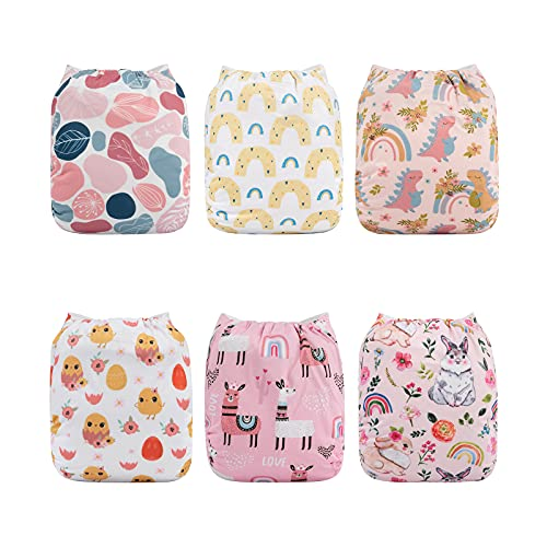 Babygoal Baby Cloth Diapers, One Size Reusable Washable Pocket Nappy, 6pcs Cloth Diapers+6 Microfiber Inserts+4pcs Bamboo Inserts,Girl Color 6FG25