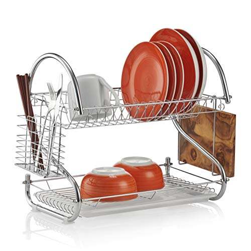 Titan Kitchenware | Anti-Rust Two Tier Dish Drainer Rack with Drip Tray | 2 Tier Dish Rack Sink Strainer Draining Board for Drying Plates, Cutlery and Dishes.