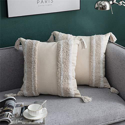 DEZENE - Fundas de almohada para sofá, cama, 2 unidades, 100% algodón, tejidas, cuadradas, con borlas, para sofá, cama, decoración de granja, niños, 45,7 x 45,7 cm, color beige