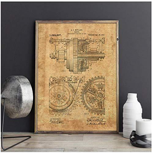 Terilizi Metal Gears Patent Mechanical Gearing Artwork Wall Art Prints Posters Home...