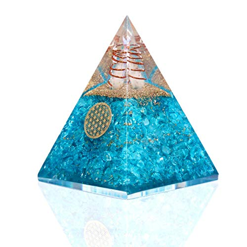 Bombay Crystals Export Orgonite Pyramid w/Copper Coil & Flower Of Life Symbol - Orgone Aquamarine Crystal for Protection, Healing & Energy Generator, Meditation Tools & Positive Energy Decor