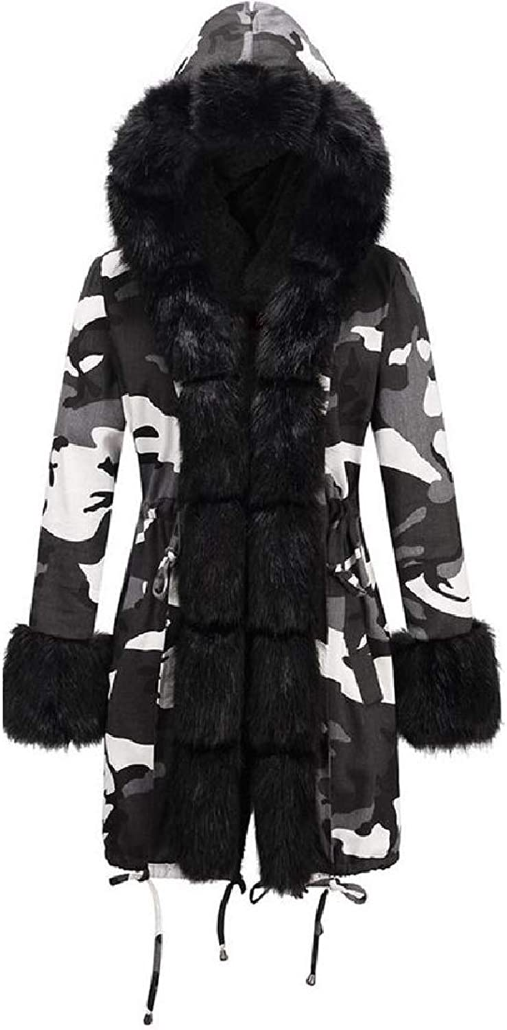 Doufinewomen clothes Womens Faux Fur Hooded Camouflage CottonPadded Parka Jacket
