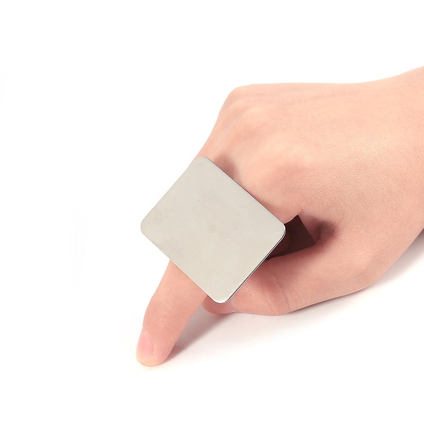 許されるリダクター公使館調節可能なリングステンレススチールメイク化粧品ネイルアートペイントミキシングパレットツールFilfeel