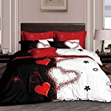 Couple Wedding Bedding Sets,EsyDream Love Heart Wedding Duvet Cover King 3pc Mr. and Mrs.Red Heart Wedding Duvet Cover 1pc with 2pc Pillowcase Ultra Soft Microfiber
