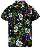 King Kameha Funky Casual Camisa hawaiana para hombre, bolsillo delantero, con botones, manga corta, unisex, estampado de loro cereza -  Negro -  5X-Large