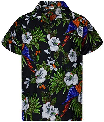 King Kameha Funky - Camisa hawaiana para niños y niñas, manga corta, bolsillo frontal, estampado hawaiano, unisex, flores de cerezo, loro Kids Cherryparrot negro. 10 Años