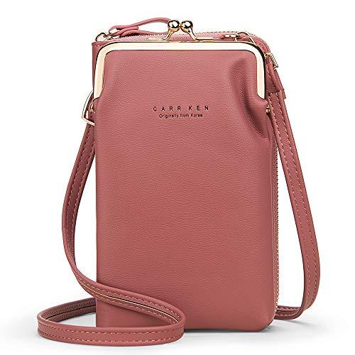 ZYLDK Bolso bandolera para teléfono móvil, para mujer, piel sintética, monedero ajustable, con tarjetero, mini bolso