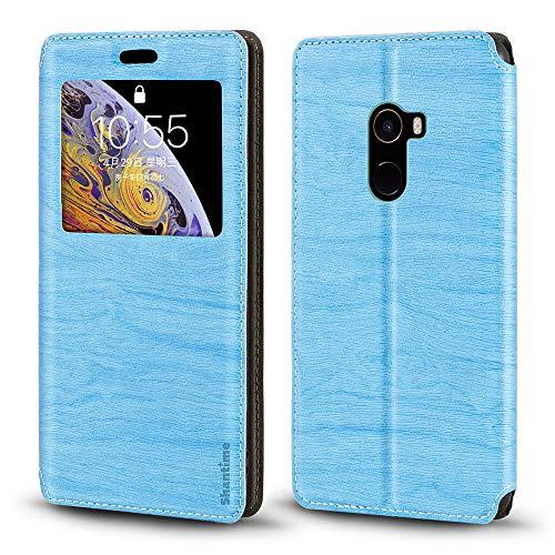 Xiaomi Mi Mix 2 Hülle, Holzmaserung Leder Hülle mit Kartenhalter & Fenster, magnetische Flip Cover für Xiaomi Mi Mix 2 (himmelblau)