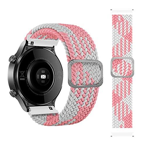 BoLuo 20mm Nylon Correa Compatible con Huami Amazfit GTS 2e,Correas Reloj,Bandas Correa Repuesto,Reloj Recambio Brazalete Correa Repuesto para Huami Amazfit GTS 2 mini/Amazfit GTR 42MM (rosa blanco)