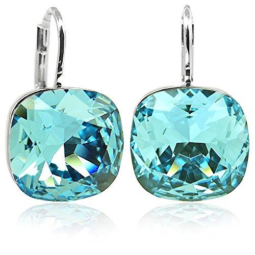 Ohrringe Blau mit Kristallen von Swarovski® Silber Türkis Aquamarine NOBEL SCHMUCK