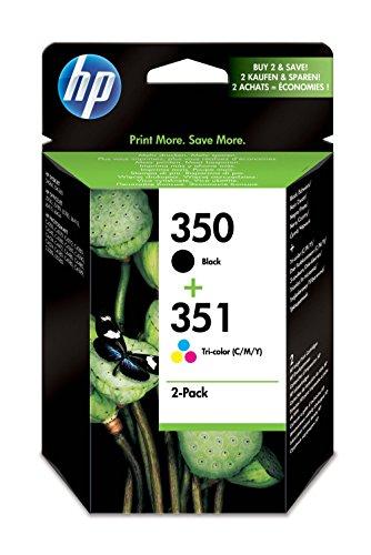 HP 350/351 SD412EE pack de 2, cartouches d'encre d'origine, imprimantes HP DeskJet, HP Photosmart, noir, trois couleurs  (cyan, magenta, jaune)