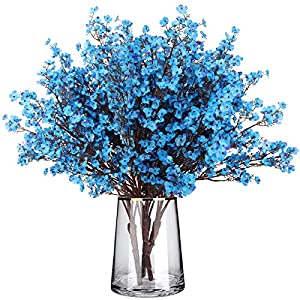 Silk Babys Breath Flowers 4 Bundles European Gypsophila Artificial Flowers Bouquets Real Touch Fake Plants for Wedding Party DIY Home Floral Arrangement Garden Decoration (Blue)