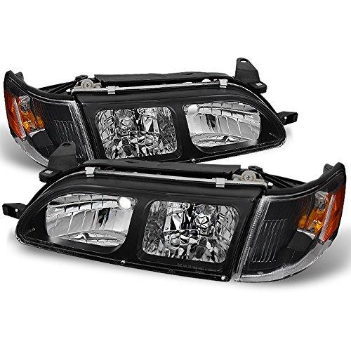 For Toyota Corolla Black Replacement Headlights Head Lamps Pair Set + Amber Corner Lamps 4pcs Set