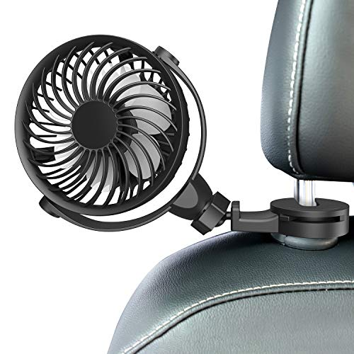 HIRIFULL USB Fan for car with Clip car Fans, 360° Rotation Hanging Hook Fan, 4 Speeds Adjustable for Car Front Back Seat Baby Seat