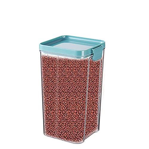 Annfly Recipiente cuadrado de plástico para cereales de cocina, caja de almacenamiento sellada, contenedor de almacenamiento de alimentos, transparente con clips y sello (azul)