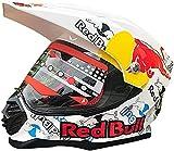 Casco De Motocicleta A Través, Casco Red Bull Full Red Bull Casco Casco De Motocicleta Certificación ECE para Motocicleta Mountain Racing Downhill Ciclismo Cachorro Completo B,L-59-60cm