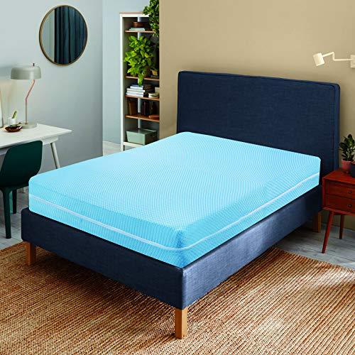Elafy Protector de colchón extra profundo con cremallera, funda con cremallera completa para cama antiinsectos, protección antiácaros, antialérgico, color azul y blanco (king)