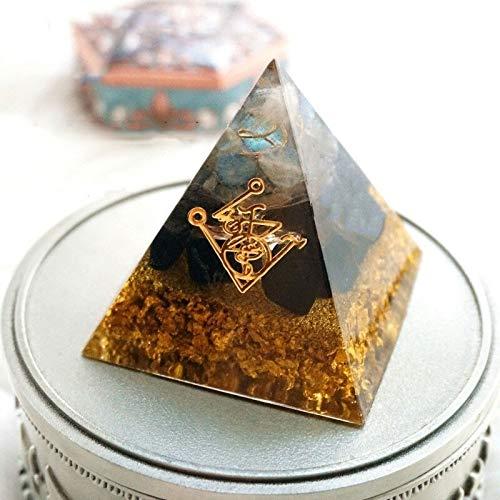 WATERMELON Orgonit Pyramide Muladhara Chakra Obsidian Natürlicher Kristall Wehre Böse Geister Pyramide Dekoration Harz Geschenk (Gem Color : 6cm)