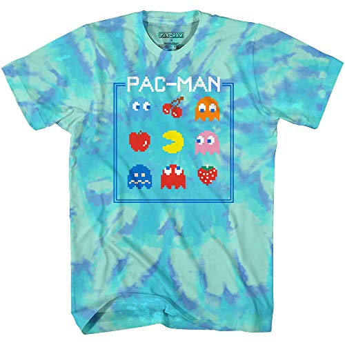 Adults Official Pac-Man Namco Tie Dye Blue T-shirt, S to XL
