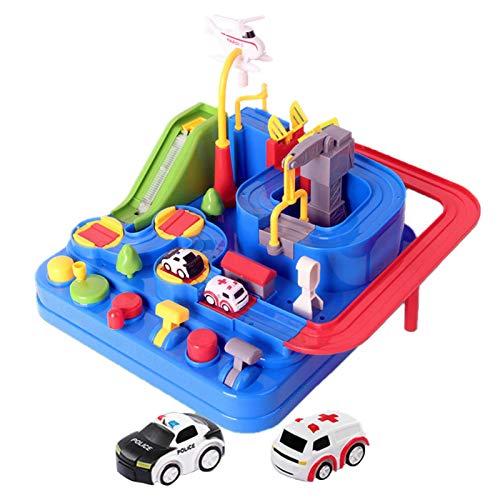 Auto-Abenteuerspielzeug, City Rescue Preschool Lernspielzeug Fahrzeug-Puzzle Autotrack-Spielsets für Kleinkinder, Eltern-Kind-interaktives Rennkinder-Spielzeug für 3-8-jährige Jungen Mädchen