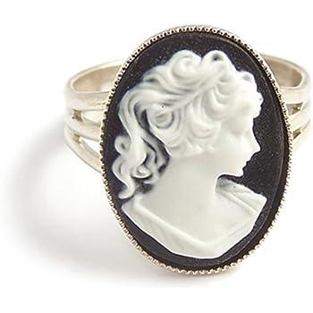 LunarraStar Cam/ée Victorienne Bague Ovale pour Femme en Plaqu/é Argent R/églable Ajustable Noir et Blanc