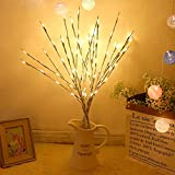 Branch Lights 4 Pack Lighted New Silver Wrapped Willow Twig Lighted Battery Powered Branch 20 LED Lights Branches Light Decoration for Christmas Home Garden Party Wedding,Warm White