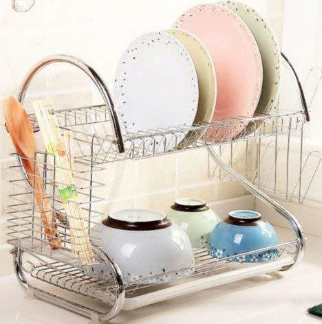 Ejoyous Escurreplatos de 2 niveles, escurreplatos para platos y cubiertos, de Kitchen Craft con bandeja de goteo de acero inoxidable que ofrece espacio para platos