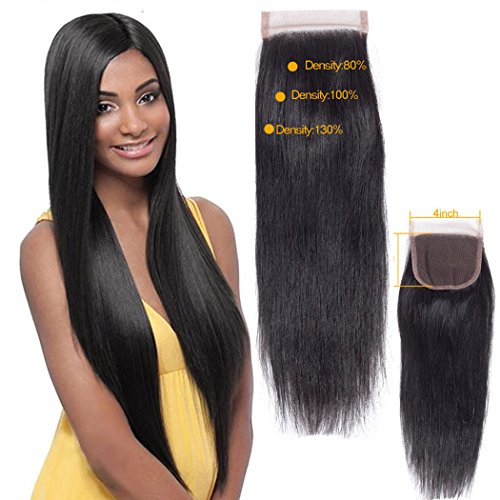 QTHAIR 10A Indian Straight Human Hair 4x4 Swiss Lace Closure(10',Free Part,Natural Black) 130% Density Indian Straight...