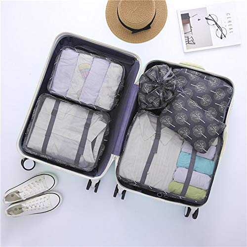 ADDG 6PCS Packing Cubes Set for Travel Luggage Organiser Bag Compression Pouches Clothes Suitcase, Waterproof Travel Storage Bag Set,D