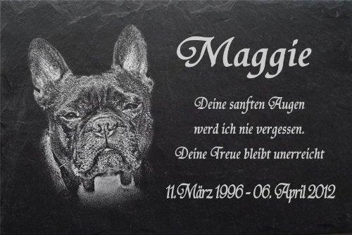 """Schiefertafel mit wetterfester Lasergravur des Motives """"Hund-024"""" Bulldogge (mit dem Musterbild oder Ihrem eigenen Foto - siehe Auswahl) und Ihrem Text/Daten in der gewünschten Schriftart z.B. als Grabtafel auf das Urnengrab oder als Gedenkschmuck fü"""