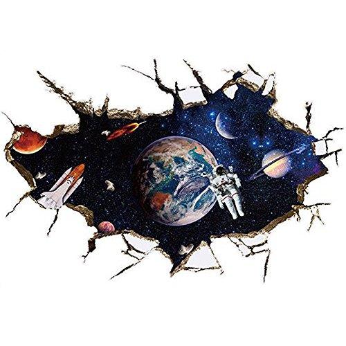 winhappyhome Lune astronaute mur Art Stickers pour chambre d'enfant Salon Chambre TV Fond Stickers Decor amovible