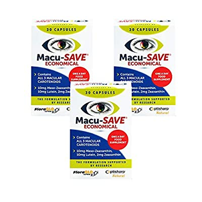 Macu-SAVE Food Supplement for Macular Health with Meso-Zeaxanthin/Lutein and Zeaxanthin - (3 x Pack of 30 Capsules)