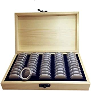 Decdeal Coins Holder Wooden Coins Storage Box For Collectible Commemorative Coin With Pcs Capsules Accommodate 50 Multi