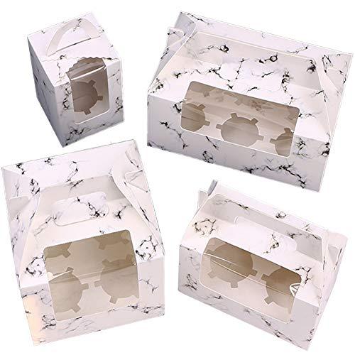 WENTS Caja de Pastel Elegante y portátil Caja para Cupcakes con Ventana...