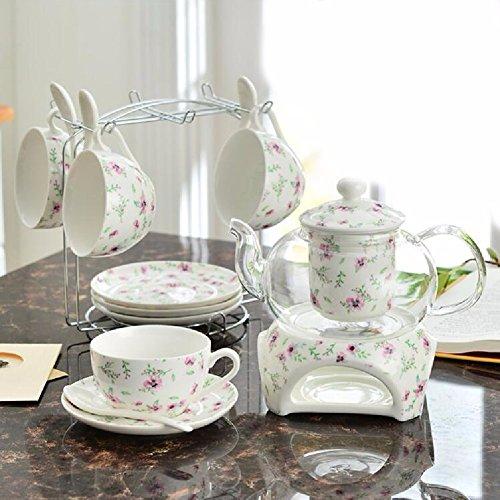 HQLCX Juego De Tazas De Cafe, Coreano De Ceramica Resistente Al Calor, Ademas De Base Tea Cup, Saucer, Fruta Tetera Tea Set,D