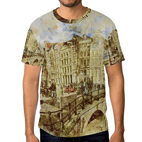 DEZIRO Amsterdam Landschap Schilderij Heren Werkkleding T-Shirt korte mouwen