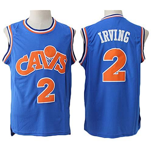 LITBIT Baloncesto para Hombre NBA Jersey Cavaliers 2# Irving Retro 2021 Transpirable Secado rápido Resistente al Desgaste Vestima sin Mangas Top para Deportes,Azul,M