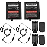 TFSeven 2Pcs KEBT-071A 700mAh Replacement 53615 Battery Packs + 4Pcs Belt Clip + 2Pcs 1 Pin Headset Earpiece Mic Headphone + Case Holster Holder for Motorola Talkabout Two Way Radio Walkie Talkie
