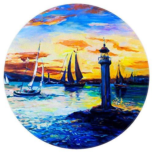 DJROWW Alfombra redonda de barco de mar y faro antiguo, pintura al óleo, base antideslizante para sala de estar, dormitorio, estudio, sala de juegos, arte para decoración del hogar 5.2 '