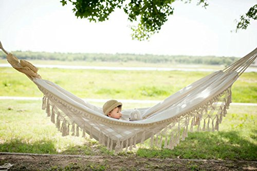 "Riseon handmade boho large brazilian macrame fringe 2 person double deluxe hammock swing net chair for beach, yard, bedroom, patio, porch, indoor, outdoor, wedding decor 95"" lx 59"" w"
