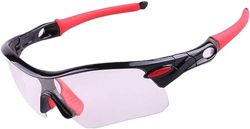 Lxhgl Polarouge Sports Lunettes De Vélo Rouge + Noir intelligent Couleur Hommes Et Femmes Mode Transparent Détachable UV400 Lunettes De Prougeection Strong 4  15CM Argent