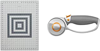 Fiskars 12-83717097J Self Healing Rotary Cutting Mat, 18x24 & Crafts Rotary Cutter, 60mm Titanium