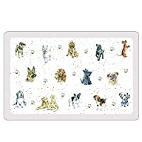 Featuring a variety of loveable dog illustrations this handy flexible pet placemat is a great way to keep your dogs feeding area clean and will make spills easy to clean up Made from hardwearing plastic Measures approximately 43 Measures approximatel...