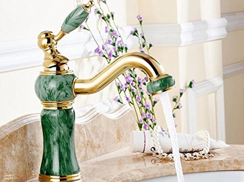 Makej Unique Design Basin Faucet Deck Mounted golden Classic Bathroom Faucet Jade Painting Long Spout Bathroom Sink Faucet A