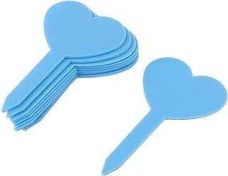 Sourcingmap Plastic Heart Shape Garden Plant Tag Label Marker Stick - Blue (10-Piece)