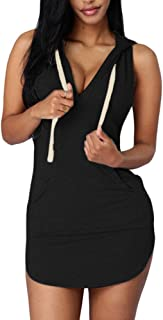 Cfanny Women's Hoodies Sexy Dresses Casual Summer Sleeveless Mini T-Shirt Dress