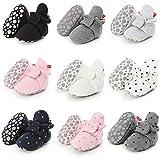 Tutoo Unisex-Baby Newborn Fleece Bootie Infant Boys Girls Socks Summer Cotton Slippers Soft First Walkers Shoes, A2-light Grey, 6-12 Months Infant