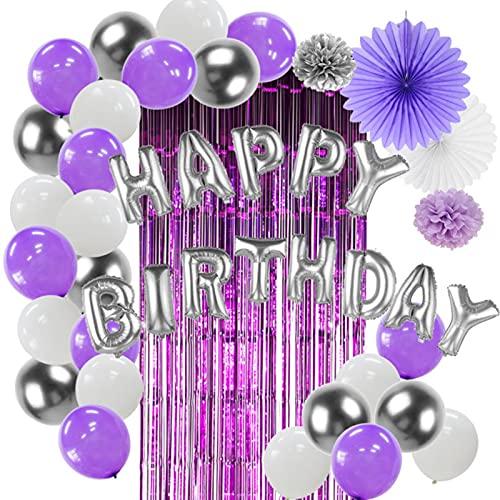 Party Decorations Bauhinia Birthday Decoration Set Purple Theme Tinsel Fringe Foil Curtain Balloon Pom Pom Artificial Flower Paper Ornament