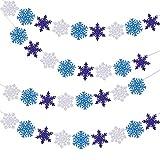 Tatuo 8 Pièces Bannières de Flocon de Neige Scintillantes Blanc Argenté Bleu Clair Bleu Foncé Banderoles de Flocon de Neige Guirlandes Suspendues de Flocon de Neige Décorations de Flocon de Neige