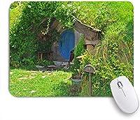 ECOMAOMI 可愛いマウスパッド 魔法のオーバーヒルウッズの映画シーンニュージーランドのファンタジーホビットランドハウス 滑り止めゴムバッキングマウスパッドノートブックコンピュータマウスマット